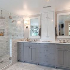 Shower (tub) transition to countertop (in my tight space).  I like the darker gray vanity colour, maybe Dovetail by Sherwin Williams.  Pretty marble bathroom floor and shower surround Marble Bathroom PaintedCabinets BathroomDesign