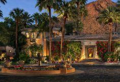 Front entrance of The Royal Palms Resort at the base of Camelback Mountain.