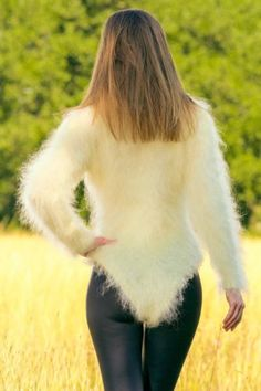 New-ivory-mohair-bodysuit-fuzzy-sweater-with-extra-long-turtleneck-SUPERTANYA