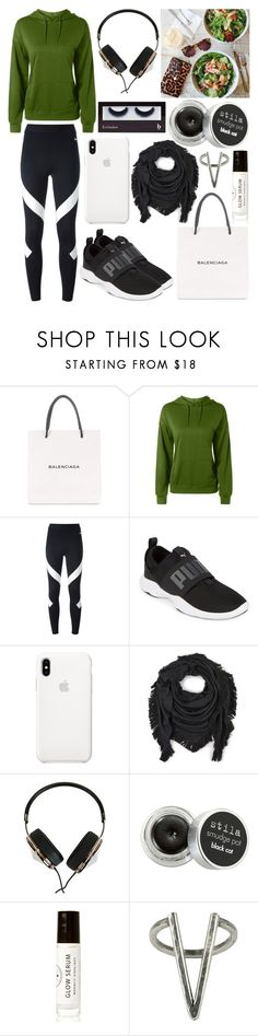 """""""Trying to be kind of healthy"""" by musicmelody1 ❤ liked on Polyvore featuring Balenciaga, NIKE, Puma, Echo, Frends, Stila, Birchrose + Co., The 2 Bandits and BBrowBar"""