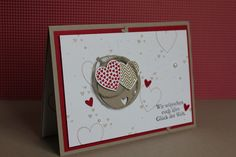 Hochzeitskarte, Bild1,  gebastelt mit Produkten, Stanzen und Stempeln von Stampin' Up!