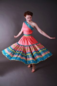 Vintage 1950s Patio Set - Fantastic One Shoulder Squaw Dress Set in Coral and Turquoise