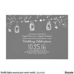 firefly lights mason jars rustic wedding card