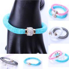 Rhinestone Bangle Creative Writing Blue Ball Pen Mesh Bracelet Gift Candy Colors #Unbranded #Bangle