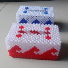3D beadwork Beaded Rectangular Tissue Paple Case Box Napkin Holder Office decor