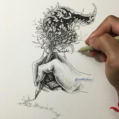 The Writer. Intricate Doodles that include Optical Illusions. By Visoth Kakvei