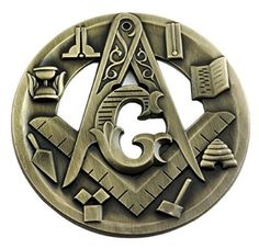 Masonic Symbols Antique Brass Auto Emblem