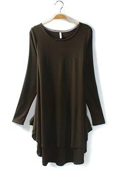 GreenFalbala Long Sleeve Loose Cotton Blend Dress