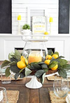 Simple summer decoration home tour Decoration idea: Do you need a centerpiece quickly?, Simple summer decoration home tour Decoration idea: Do you need a centerpiece quickly? Use a cake plate, like this vintage frosted glass base that I t. Summer Decoration, Decoration Table, Summer Mantle Decor, Summer Table Decorations, Summer Centerpieces, Centerpiece Ideas, Summer House Decor, Candle Centerpieces For Home, Ideas Candles