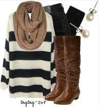 Tan Scarf, Black Jeggings, Striped Shirt, Brown Knee High Boots, Pearl Earrings,