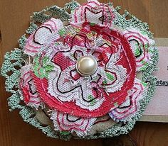 Shabby chic vintage lace brooch