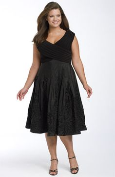 Adrianna Papell Matte Jersey & Taffeta Party Dress (Plus) available at #Nordstrom    For Chelsea's wedding??? :)