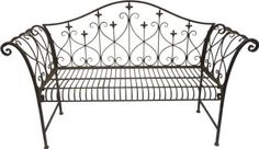 Vintage Look Metal Outdoor Garden Bench with Ornamented High Backrest: Amazon.co.uk: Garden & Outdoors £59.98