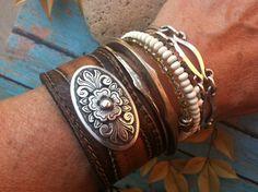 Bohemian Cowgirl, Hippie Cuff, Leather Bracelet, Leather Cuff, Ladies, Hamdmade. $30.00, via Etsy.