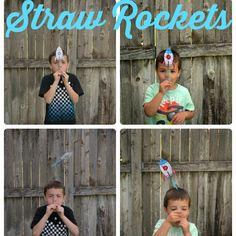 Rakete basteln & mit Trinkhalm ins All schiessen! Tolle Idee für den #kindergeburtstag