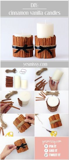 DIY decorative candle tutorial will have your home smelling like the holidays DIY Cinnamon Vanilla Candles - 15 Best DIY Ideas to Winterize Your Home for Christmas Noel Christmas, Diy Christmas Gifts, All Things Christmas, Christmas Decorations, Christmas Hair, Halloween Decorations, Christmas Wrapping, Christmas Mood, Christmas Christmas