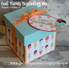 Julie Kettlewell - Stampin Up UK Independent Demonstrator - Order products 24/7: Cool Treats Exploding Box
