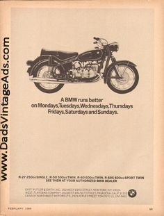 1965 ''BMW Runs Better'' Vintage Motorcycle Ad