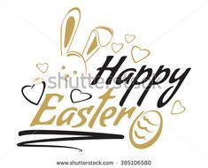 Happy easter. Greeting inscription with the Easter bunny and Easter eggs. Vector easter art, hand lettering, text. Vector illustration