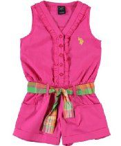 U.S. Polo Assn. Girls 2-6X Ruffled Button-Up Romper, Pink Peak, 2T From U.S. Polo Assn Price: 	$9.99