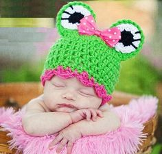 Crochet FROG Hat for you or your baby req36857 by Miledy on Etsy,   ***********I Love love LoVe This!!!*********