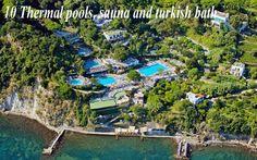 イタリア、イスキア島のポセイドン温泉公園。ナトリウム塩化物泉。水温は低温~40℃まで20カ所あり。足湯あり。料金1日30ユーロ Ischia Poseidon thermal park - Poseidon gardens Forio Ischia - Spa Holiday on Ischia - Ischia accomodation