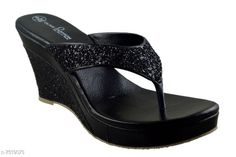 Others Black Women Wedges Material: Synthetic Sole Material: PVC Fastening & Back Detail: Open Back Pattern: Solid Multipack: 1 Sizes:  IND-8 (Foot Length Size: 25 cm Foot Width Size: 11 cm) IND-7 (Foot Length Size: 24.5 cm Foot Width Size: 10.9 cm)  IND-3 (Foot Length Size: 22.5 cm Foot Width Size: 10.5 cm)  IND-6 (Foot Length Size: 24 cm Foot Width Size: 10.8 cm)  IND-5 (Foot Length Size: 23.5 cm Foot Width Size: 10.7 cm)  IND-4 (Foot Length Size: 23 cm Foot Width Size: 10.6 cm)    Country of Origin: India Sizes Available: IND-8, IND-9, IND-3, IND-4, IND-5, IND-6, IND-7   Catalog Rating: ★4.2 (1785)  Catalog Name: Relaxed Trendy Women Heels & Sandals CatalogID_1212711 C75-SC1061 Code: 405-7519073-999