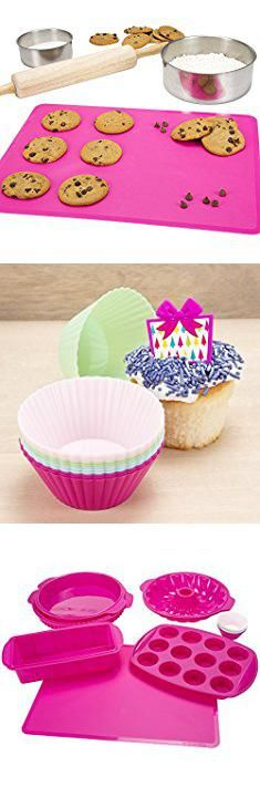 Supplies For Baking. Silicone Bakeware Set, 18-Piece Set including Cupcake Molds, Muffin Pan, Bread Pan, Cookie Sheet, Bundt Pan, Baking Supplies by Classic Cuisine.  #supplies #for #baking #suppliesfor #forbaking