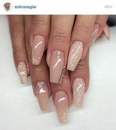 Sparkle & nude acrylic nails