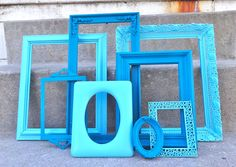 Peacock Blue and Aqua Ornate Picture Frame Set by melissap6908