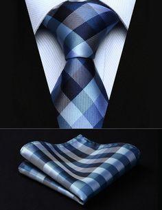 "Party Wedding Classic Pocket Square Tie TC804V8S Blue White Check 3.4"" Silk Woven Men Tie Necktie Handkerchief Set"