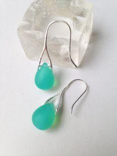 Seafoam Green Teardrop  Earrings Matte Czech Glass by lyrisgems