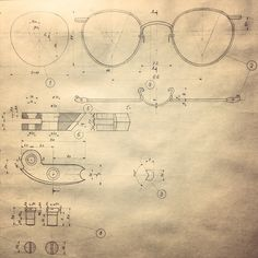 The technical drawing of a pair of glasses, I really like the simple aesthetic and the drawing style.