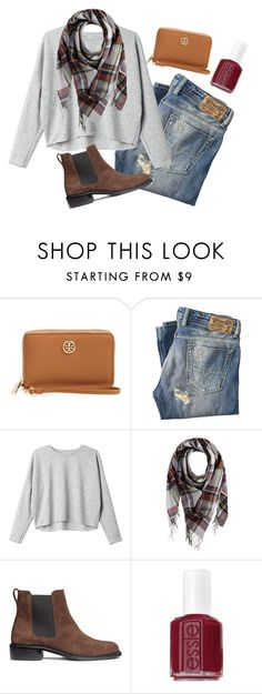 """""""Can you even feel this real """" by madelyn-abigail ❤ liked on Polyvore featuring Tory Burch, Diesel, Monki, Pieces, H&M, Essie, women's clothing, women's fashion, women and female"""