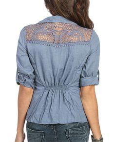 Crinkle Crochet Back Shirt
