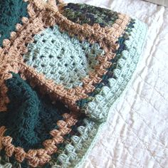 "Crochet Granny Square Blanket- Granny Square Afghan / Moss Green Brown Forest Green Crochet Blanket - Rustic Cabin Decor 36"" x 47"""