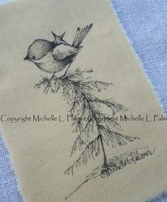 Original Pen Ink on Fabric Illustration Quilt Label by Michelle Palmer Christmas tree perch Chickadee Bird Star November 2016