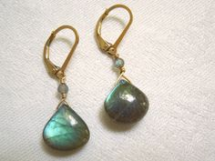 Labradorite Dangle Earrings Exceptional Blue Green by seemomster, $45.00