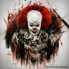 "Kaan Kaptan on Instagram: ""#pennywise #pennywisetheclown #timcurry #it #stephenking #stephenkingit #horror #horrormovie #horrorclassic #drawing #drawingart #sketch…"" Horror Movie Characters, Horror Movies, Fictional Characters, Pennywise Tattoo, Pennywise The Dancing Clown, Scary Faces, Horror Art, Tattoo Sketches, Character Illustration"