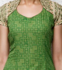 Green Kora Cotton Churidar Suit with Hand Embroidery Churidar Neck Designs, Kurta Neck Design, Kurta Designs Women, Salwar Designs, Sleeves Designs For Dresses, Neck Designs For Suits, Neckline Designs, Blouse Neck Designs, Kurtha Designs