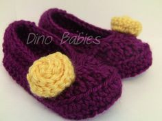 Purple/Yellow Crocheted Rosette Mary Jane Shoes for Babies/Toddlers