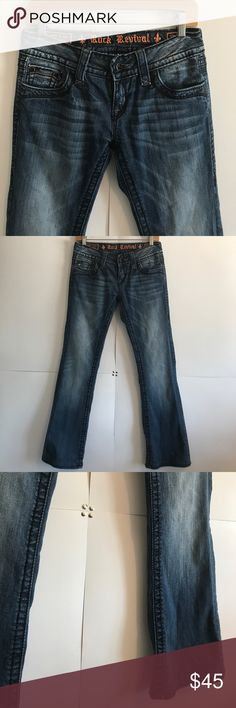"ROCK REVIVAL ""CELINE"" Boot Cut jeans 27 In Excellent Condition!! Have been professionally hemmed, see photos. Rock Revival Jeans Boot Cut"