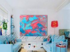 http://etsy.me/19ao1Fz via @Etsy 40''x30''TURQUOISE Blue Pink Print on Canvas ''Delicate'' by JuliaFineArtGallery (Rolled In A Cardboard Tube)
