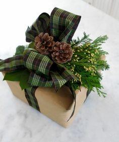 geschenkverpackung verpackungen basteln grune schleife zapfen zweige