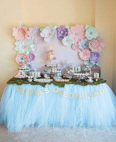 Light Blue Tutu Table Skirt Alice in by SweetJellyParties on Etsy