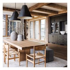 This dining area is probably Japanese country-house inspired. House Design, House, Interior, House Styles, New Homes, Home Decor, House Interior, Dining Room Inspiration, Interior Design