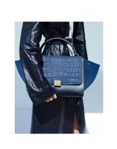 Celine Blue Stamped Croc mini Trapeze Bag