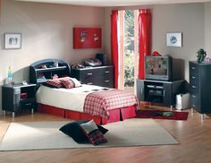 Modern child room design ideas black and red furniture set bed with storage headboard and freestanding storage chest of drawers modern child room design ideas modern kids bedroom design ideas