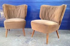 ❤#CC13P VINTAGE DANISH 1960's Curved Back COCKTAIL CHAIRS - Good Condition PAIR | eBay
