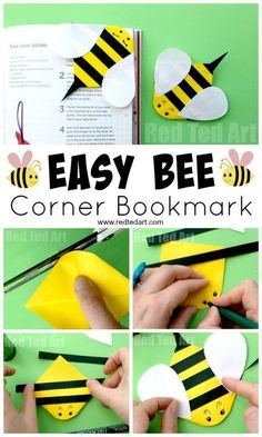 Bee Corner Bookmark Paper Crafts for Kids - Red Ted Art - Make crafting with kids easy & fun Bookmarks Kids, Paper Bookmarks, Bookmark Craft, Corner Bookmarks, Origami Bookmark, Handmade Bookmarks, Crochet Bookmarks, Bee Crafts For Kids, Easy Arts And Crafts